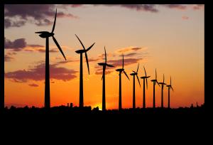 Wind farm with shadow